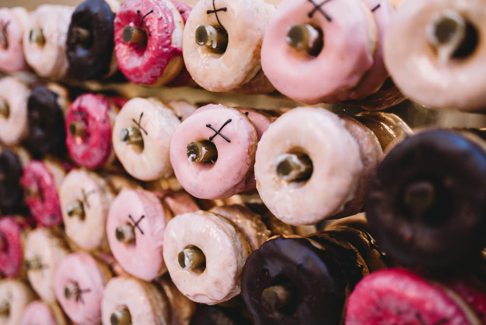 Donut Doughtut Wall Stand Maidens Barn Wedding Sophie Oldhamstead Photography