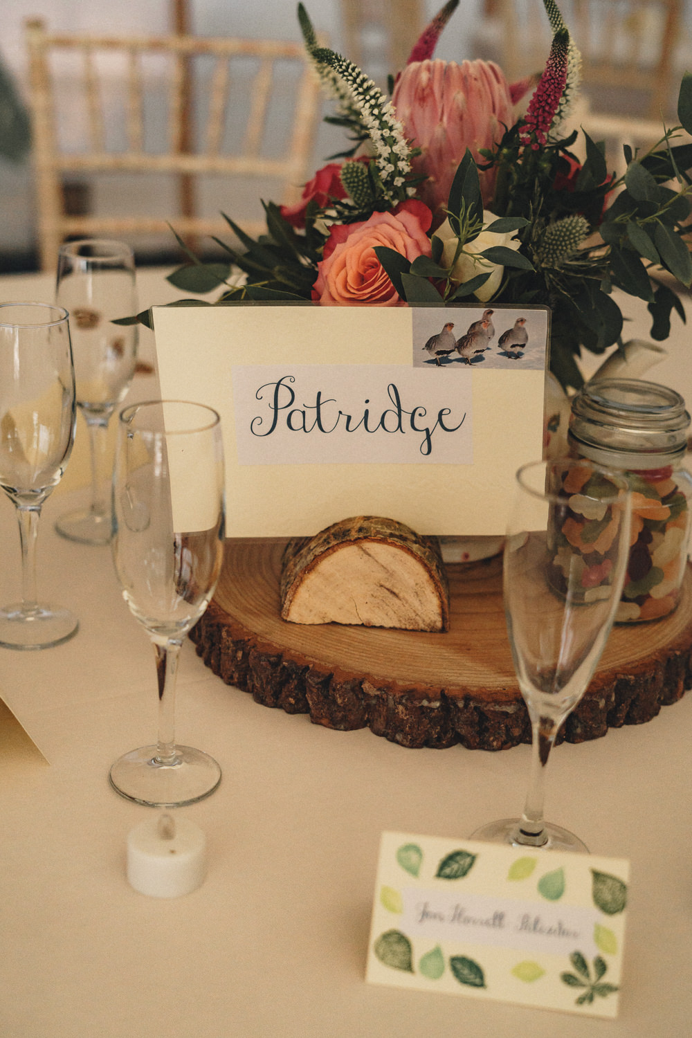 Centrepiece Log Slice Flowers Table Name Marquee Wedding Home The Chamberlins