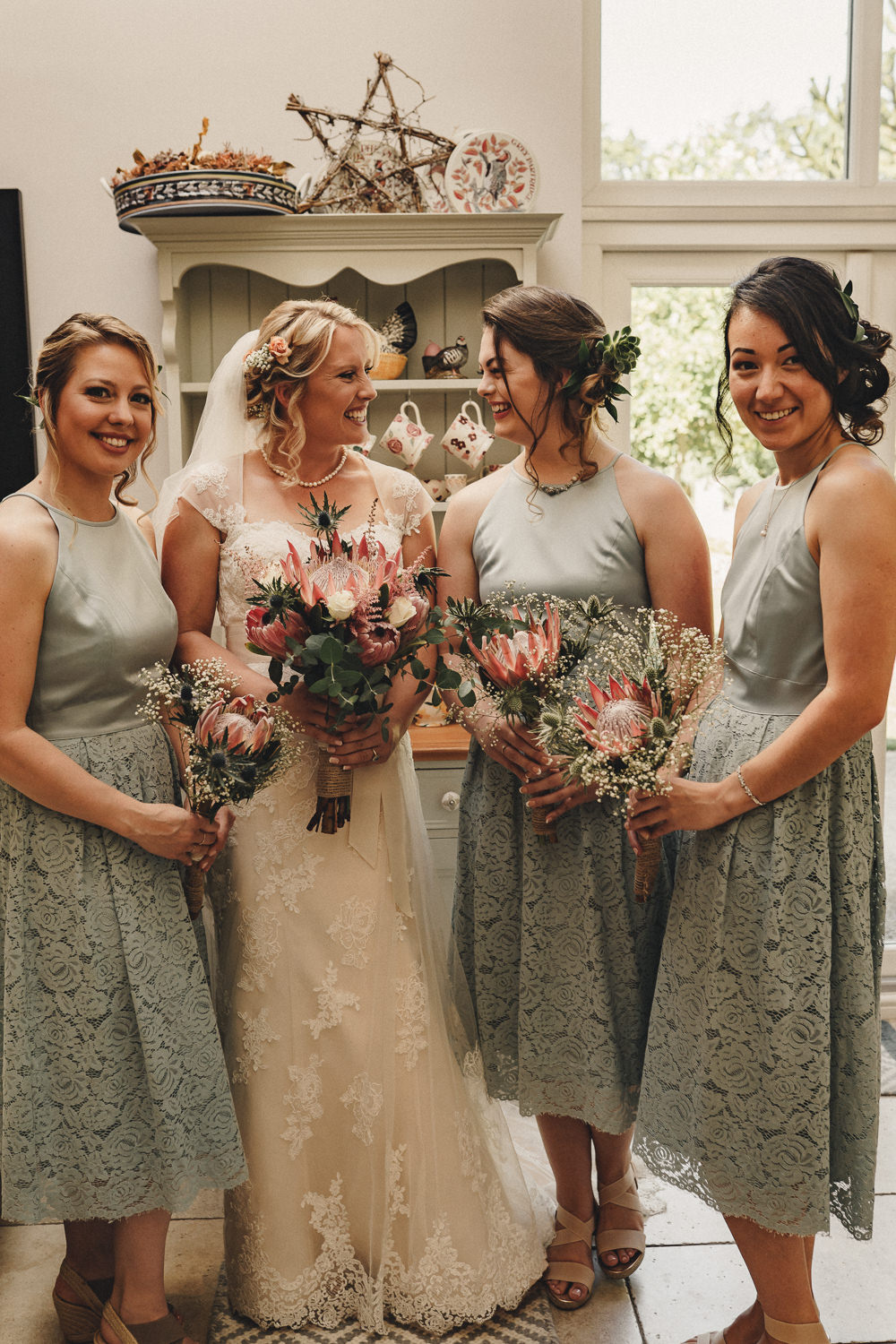Bridesmaids Bridesmaid Dress Dresses Short Lace Sage Green Marquee Wedding Home The Chamberlins