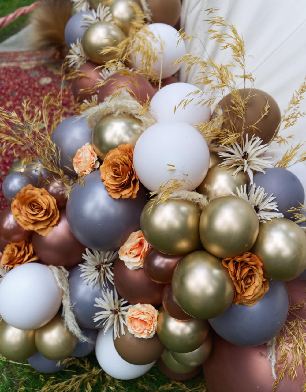 Balloons Balloon Installation Flowers Grass Gold Grey Moroccan Wedding Inspiration Luke Batchelor Productions