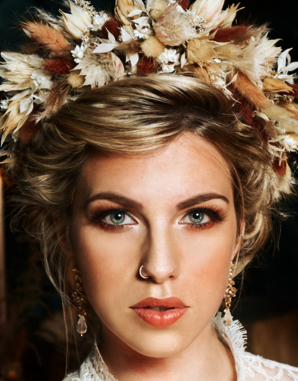 Bride Bridal Make Up Flower Crown Moroccan Wedding Inspiration Luke Batchelor Productions