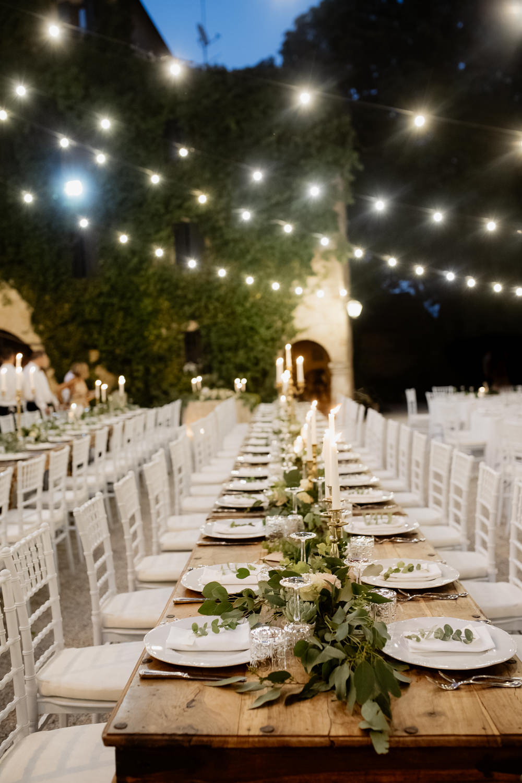 Table Tablescape Greenery Foliage Gold Cutlery Candles Place Setting Festoon Lights Natural Italy Villa Wedding Flavia Eleonora Tullio