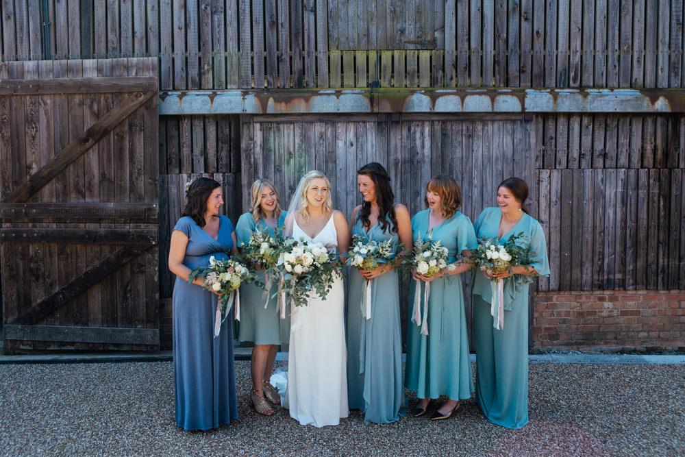 Bridesmaids Bridesmaid Dress Dresses Mismatched Rewritten Blue Green Oak Barn Wedding Matilda Delves Photography