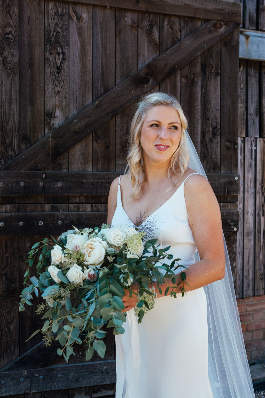 Dress Gown Bride Bridal Slip Veil Oak Barn Wedding Matilda Delves Photography