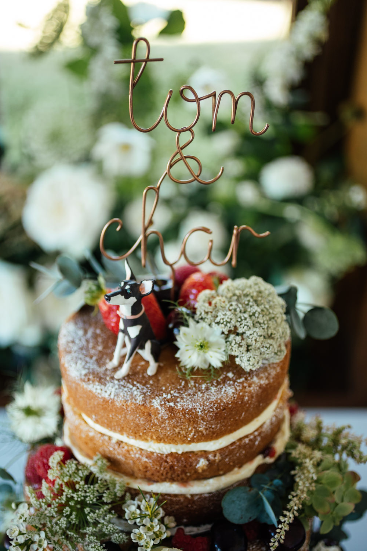 Wire Cake Topper Oak Barn Wedding Matilda Delves Photography