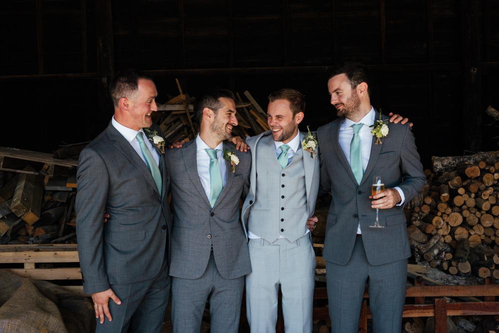 Groom Groomsmen Suit Grey Green Tie Brown Shoes Oak Barn Wedding Matilda Delves Photography