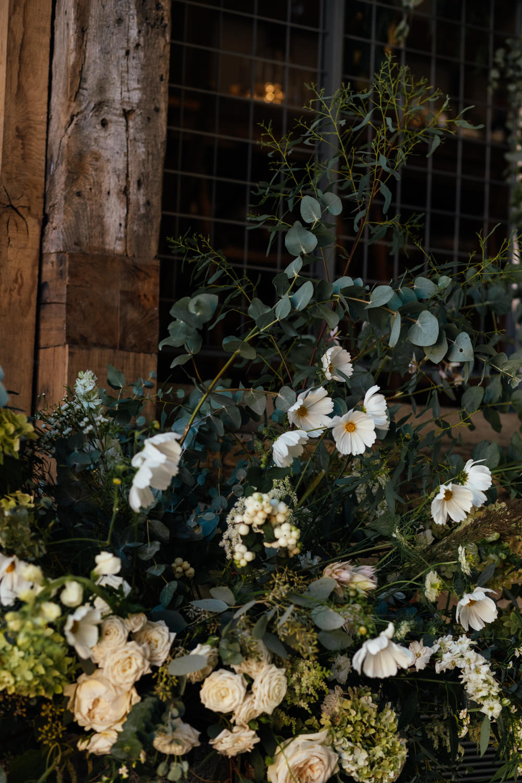 Flowers Rose Eucalyptus Greenery Foliage Oak Barn Wedding Matilda Delves Photography