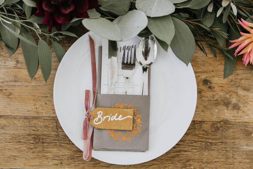 Place Setting Plate Cutlery Luggage Tag Place Name Napkin Summer Boho Wedding Wild Tide Weddings