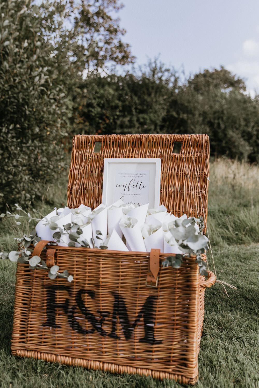 Fortnum and Mason Hamper Basket Confetti Cones Summer Boho Wedding Wild Tide Weddings