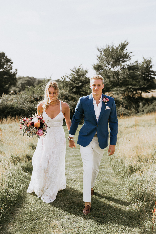 Dress Gown Bride Bridal Grace Loves Lace Megan Train Lace Straps Strappy Summer Boho Wedding Wild Tide Weddings