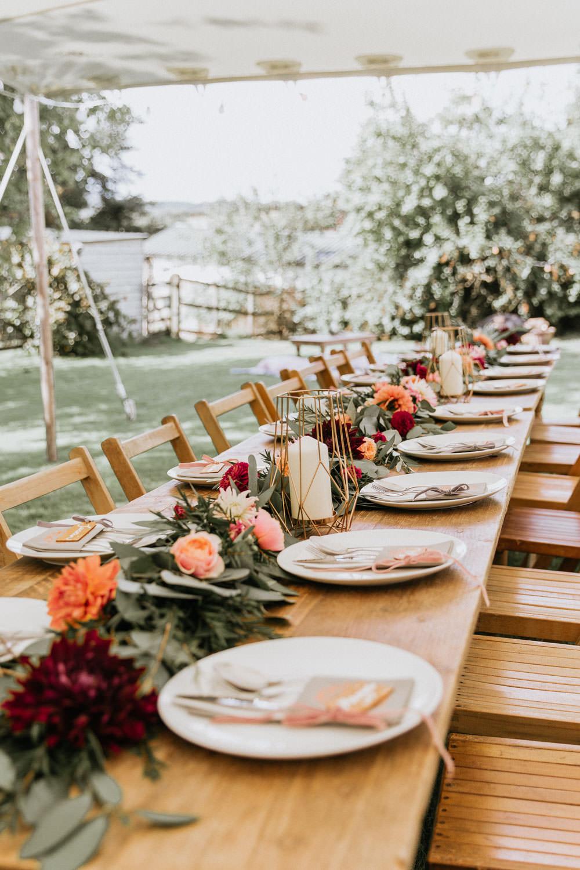 Stretch Tent Outdoor Festoon Lights Long Wooden Antique Tables Chairs Flower Swag Garland Summer Boho Wedding Wild Tide Weddings