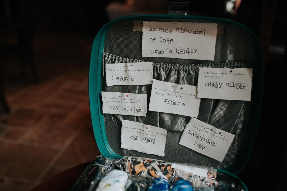 Umbrella Brolly Vintage Suitcase Swancar Farm Country House Wedding Maree Frances Photography