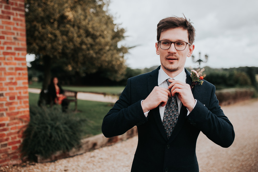 Groom Suit Black Liberty Print Tie Swancar Farm Country House Wedding Maree Frances Photography