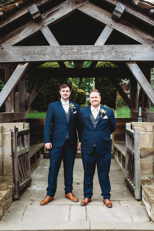 Groom Groomsmen Suit Grey Tweed Waistcoat Blue Tan Shoes Whinstone View Wedding Emma Adamson Photography