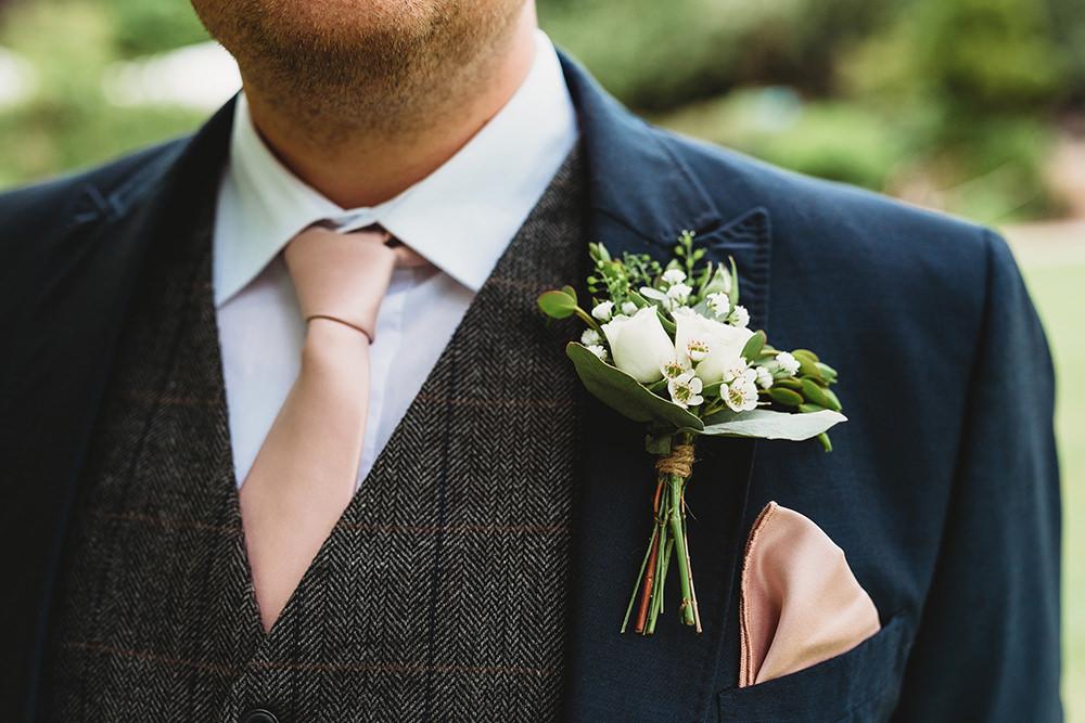 Groom Groomsmen Suit Grey Tweed Waistcoat Blue Tan Shoes Buttonhole Whinstone View Wedding Emma Adamson Photography
