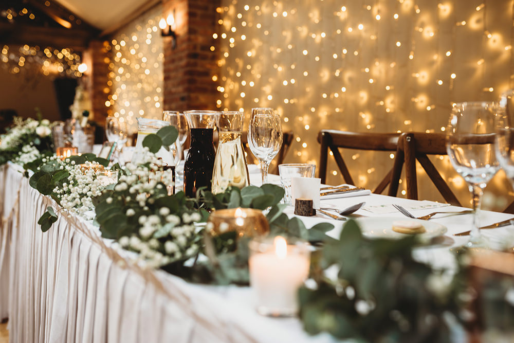Table Decor Greenery Foliage Garland Whinstone View Wedding Emma Adamson Photography