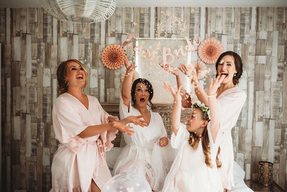Bride Bridesmaids Bridal Prep Dressing Gown Robe Whinstone View Wedding Emma Adamson Photography