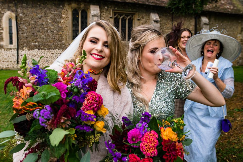 Bouquet Flowers Bride Bridal Vibrant Colourful Bright Anstey Hall Wedding Jonny Barratt Photography
