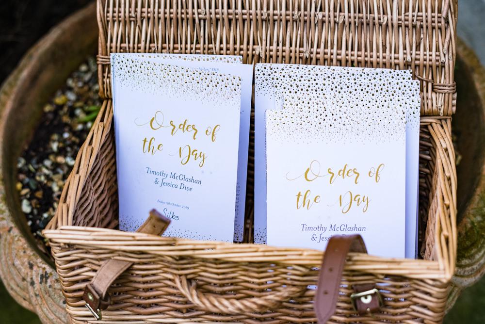 Order of the Day Booklet Anstey Hall Wedding Jonny Barratt Photography