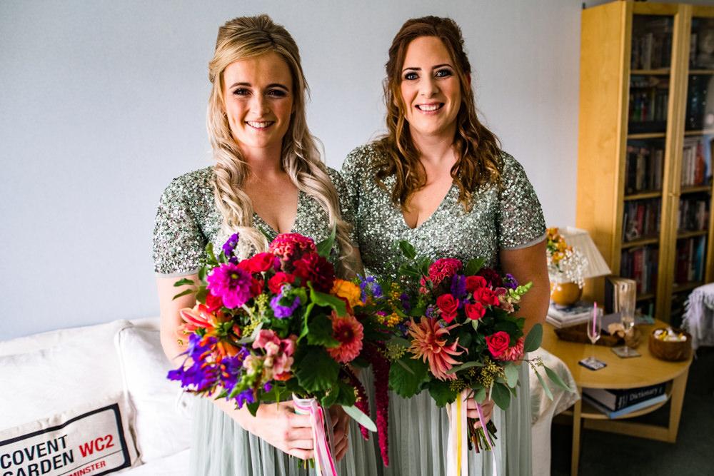 Bridesmaids Bridesmaid Dress Dresses Green Sequin Bouquets Anstey Hall Wedding Jonny Barratt Photography