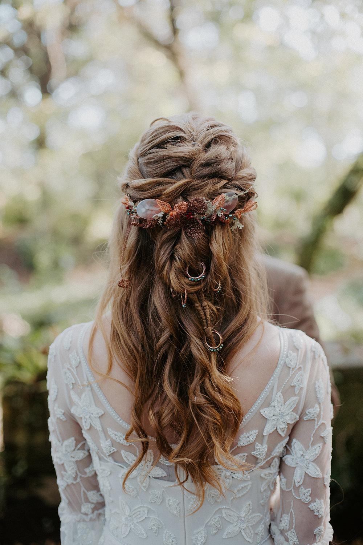 Bride Bridal Hair Style Up Do Half Up Half Down Plaits Braids Flowers Accessory Boho Wedding Ideas The Enlight Project