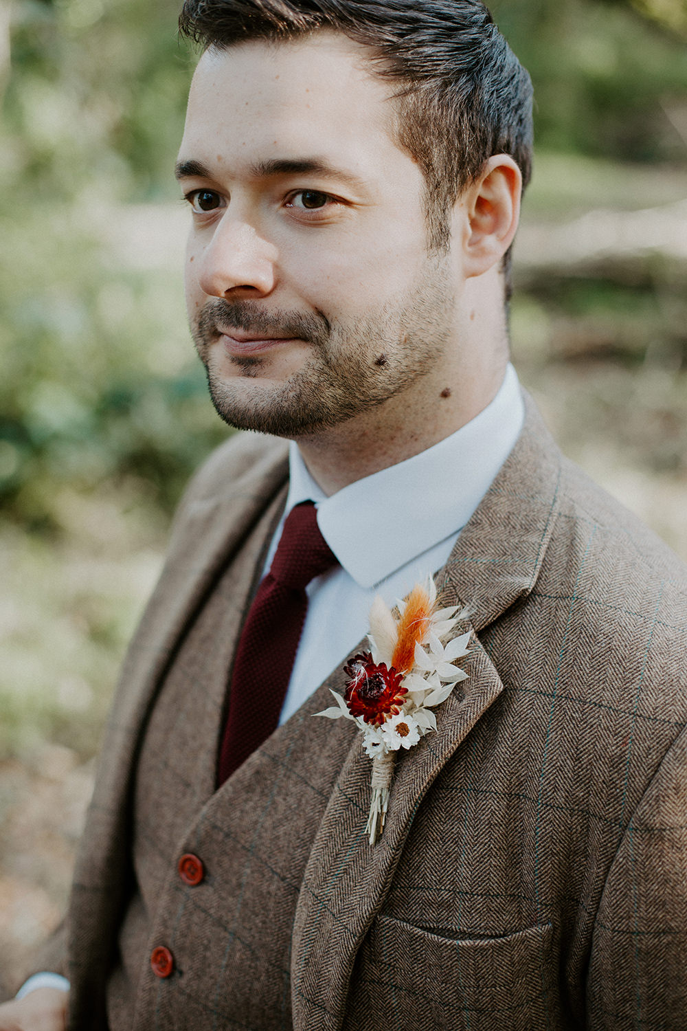 Groom Suit Brown Check Burgundy Tie Buttonhole Flowers Grasses Boho Wedding Ideas The Enlight Project