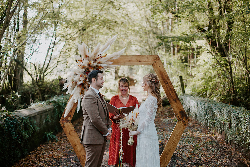Hexagon Wooden Frame Backdrop Ceremony Arch Pampas Grass Autumn Woodland Boho Wedding Ideas The Enlight Project