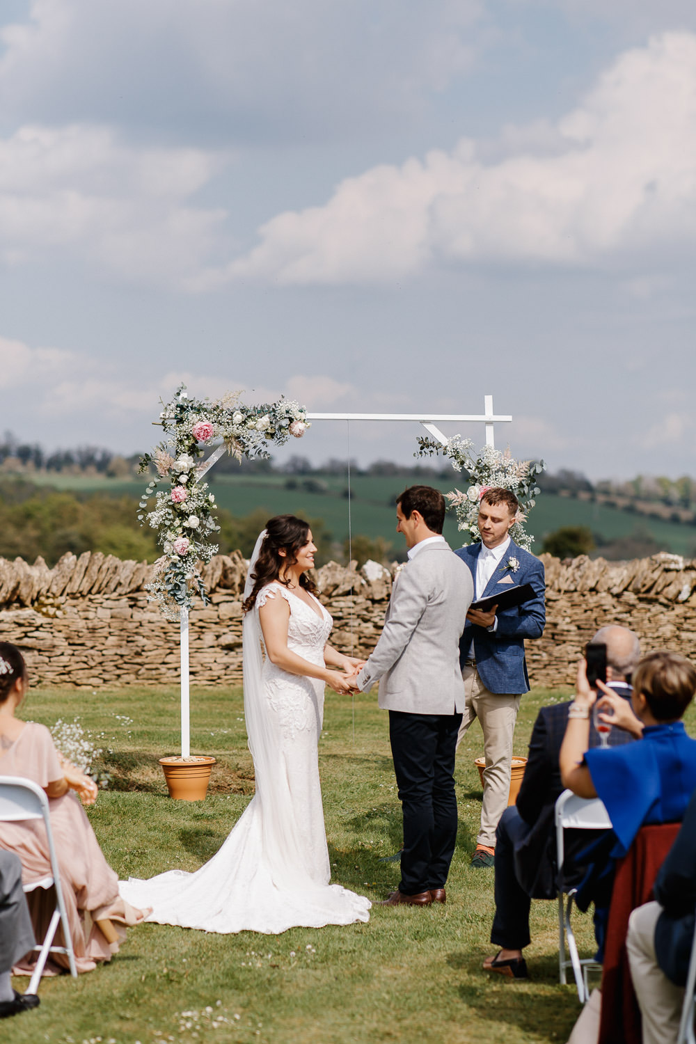 Outdoor Ceremony Flower Arch Aisle Cotswolds Marquee Wedding Jessy Papasavva Photography