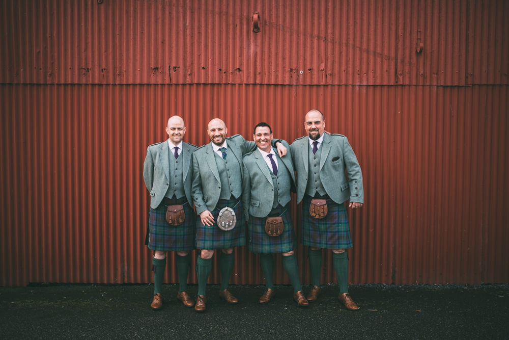 Groom Groomsmen Kilt Dalduff Farm Wedding Northern Aye Photography