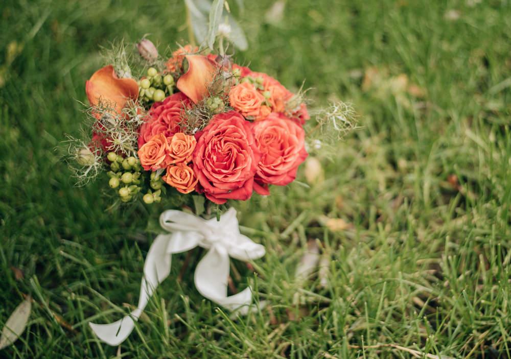 Bouquet Flowers Coral Orange Rose Bride Bridal Eco Friendly Wedding Inspiration Sarah Jayne Photography
