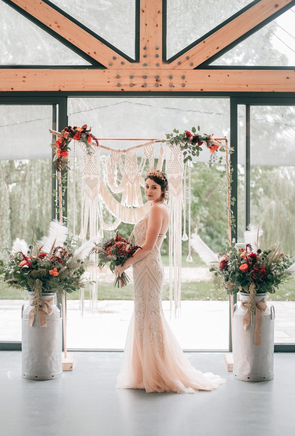 Macrame Flower Arch Backdrop Ceremony Aisle Milk Churn Flowers Eco Friendly Wedding Inspiration Sarah Jayne Photography