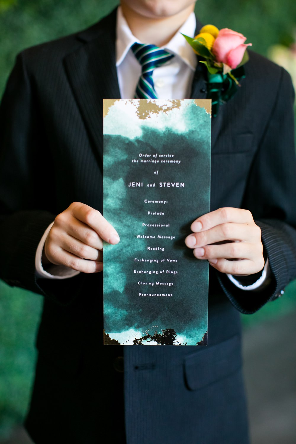 Stationery Order of Service Watercolour Green Gold Floral Minneapolis Wedding Jeannine Marie Photography