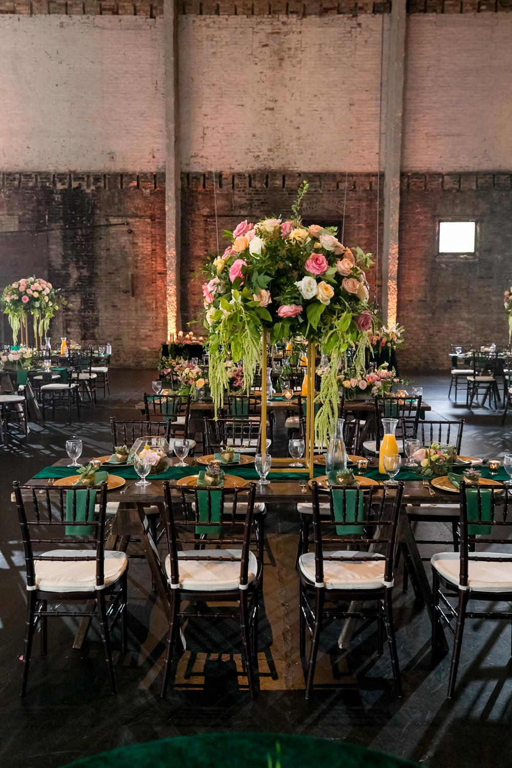 Tall Centrepiece Flowers Pink Oversized Large Peony Peonies Rose Foliage Greenery Floral Minneapolis Wedding Jeannine Marie Photography