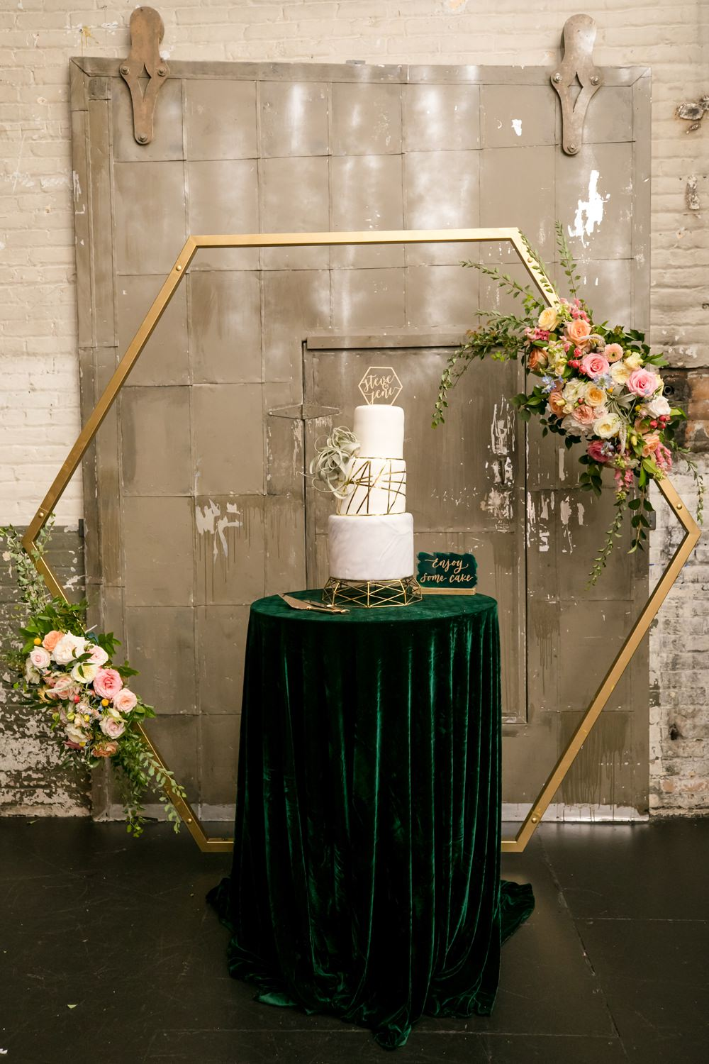 Cake Table Hexagon Flower Arch Backdrop Floral Minneapolis Wedding Jeannine Marie Photography