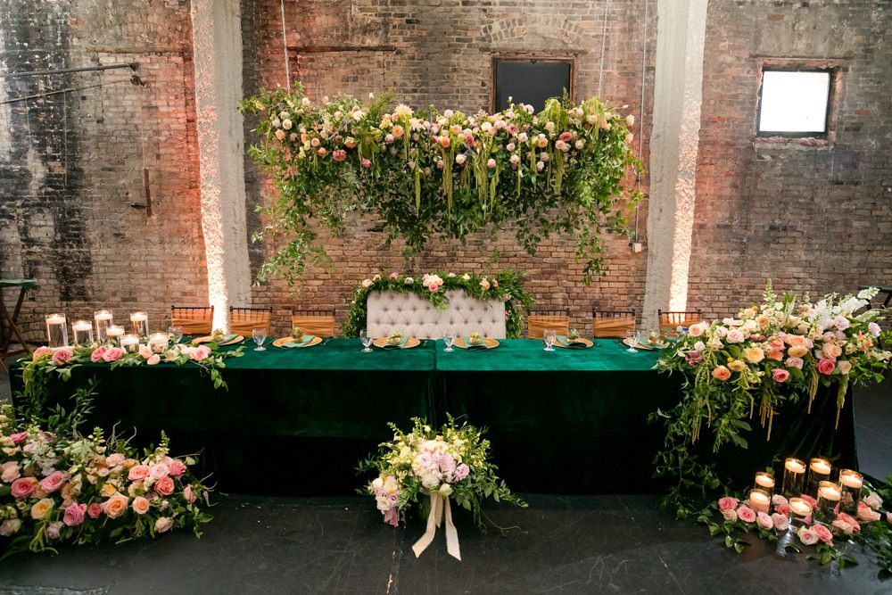 Top Table Centrepiece Suspended Hanging Meadow Flowers Pink Oversized Large Peony Peonies Rose Foliage Greenery Floral Minneapolis Wedding Jeannine Marie Photography