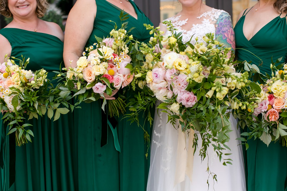 Bouquet Flowers Bride Bridal Pink Oversized Large Peony Peonies Rose Foliage Greenery Bridesmaid Floral Minneapolis Wedding Jeannine Marie Photography
