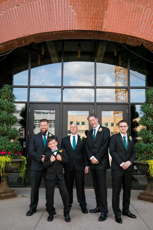 Groom Groomsmen Suits Green Ties Floral Minneapolis Wedding Jeannine Marie Photography