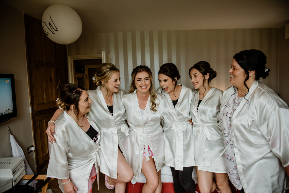 Bride Bridal Bridesmaids Dressing Gowns Robes Fun Barn Wedding Kazooieloki Photography