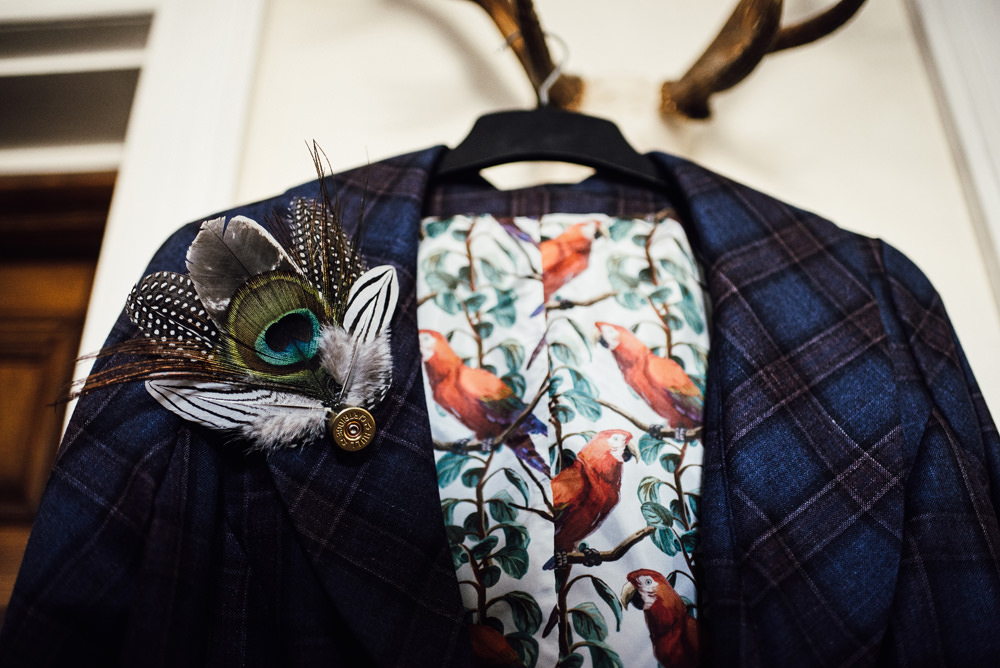 Bride Jacket Feather Buttonhole Longton Wood Wedding Alex Tenters Photography