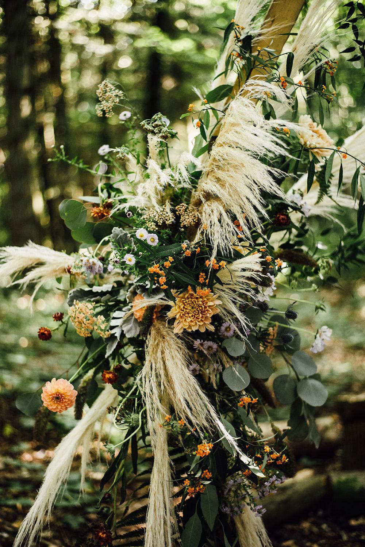 Flower Arch Flowers Pampas Grass Longton Wood Wedding Alex Tenters Photography