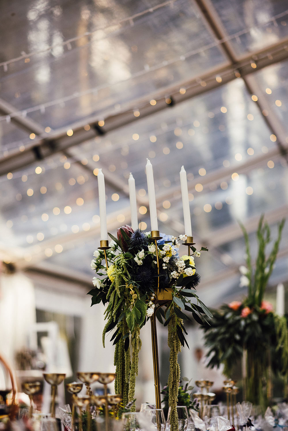 Clear Marquee Fairy Lights Tall Flower Arrangements Candles Longton Wood Wedding Alex Tenters Photography