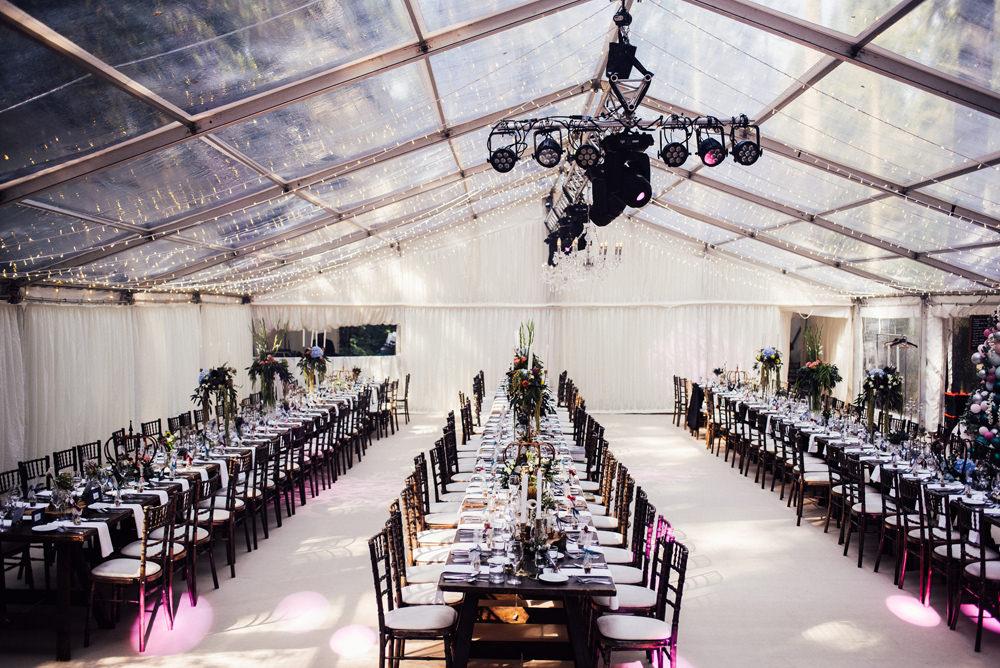 Clear Marquee Fairy Lights Tall Flower Arrangements Longton Wood Wedding Alex Tenters Photography