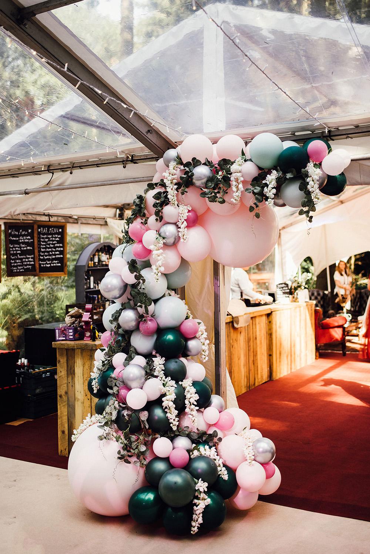 Balloon Arch Entrance Installation Pink Green Longton Wood Wedding Alex Tenters Photography