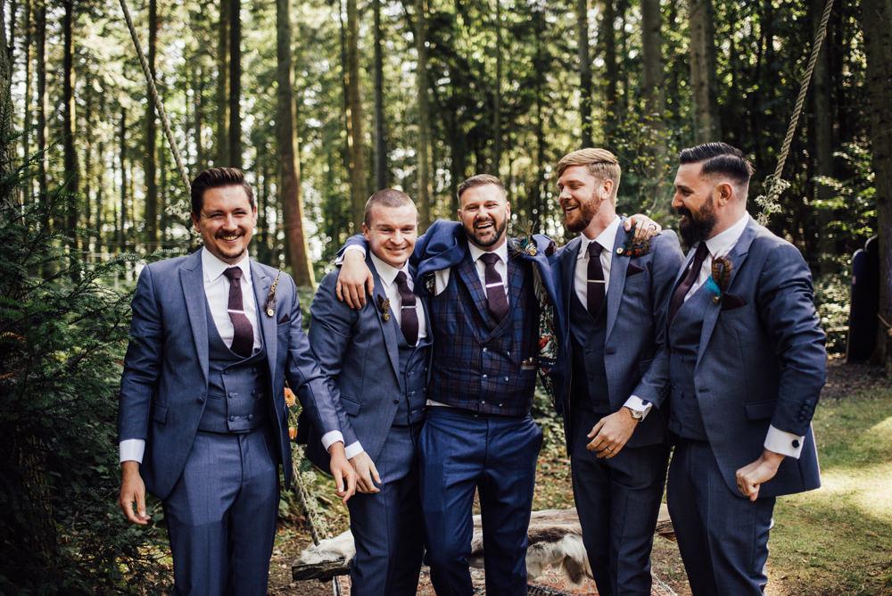Groom Suit Feather Buttonhole Groomsmen Navy Blue Longton Wood Wedding Alex Tenters Photography