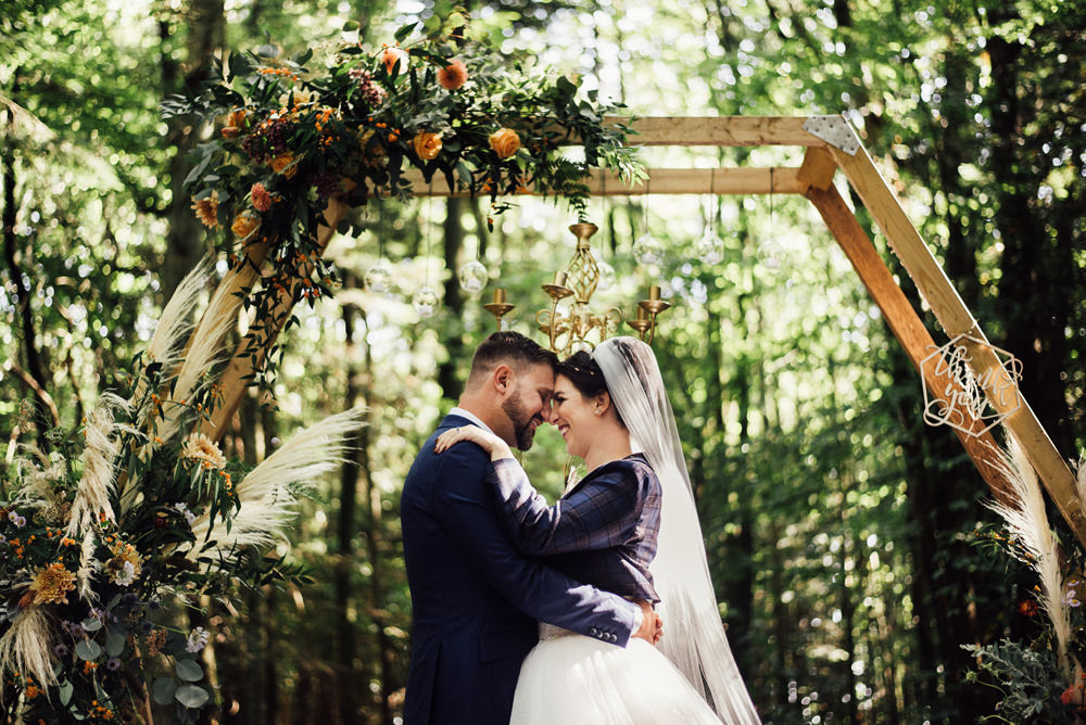Flower Arch Hexagon Backdrop Ceremony Aisle Flowers Longton Wood Wedding Alex Tenters Photography
