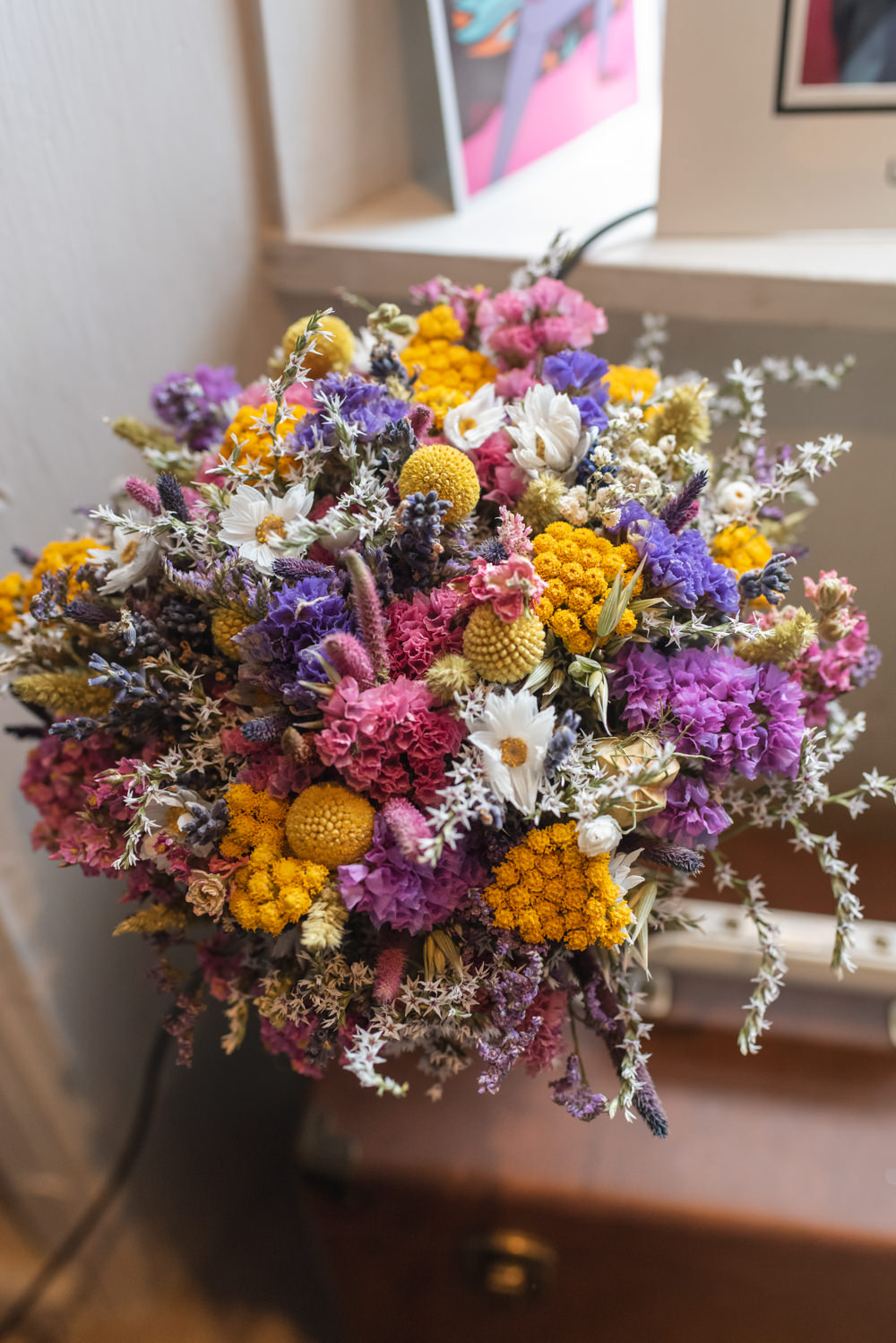 Dried Flower Bouquet Bride Bridal Colourful Northern Monk Brewery Wedding Lisa Howard Photography