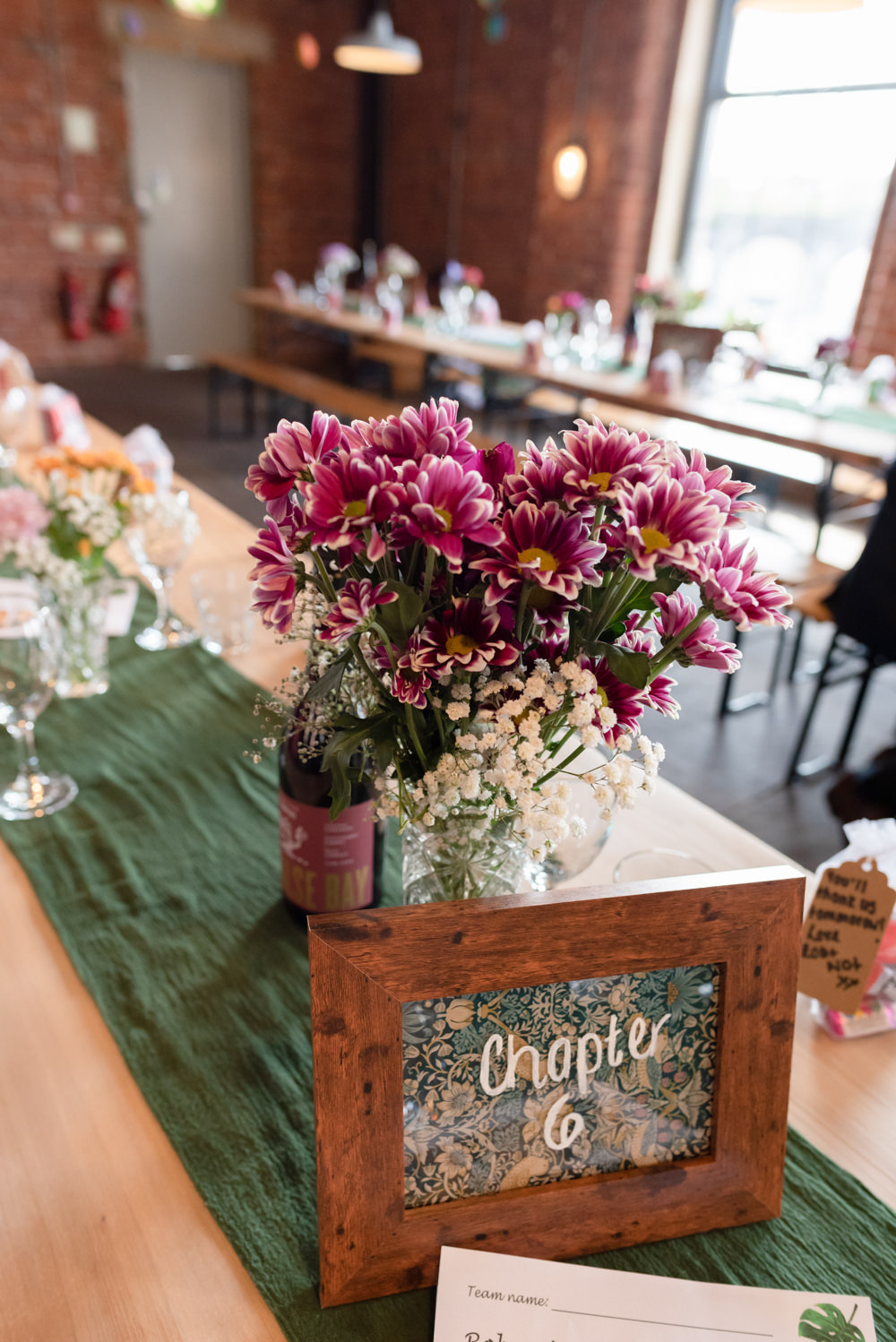 Table Flowers Vase Centrepiece Decor Runner Northern Monk Brewery Wedding Lisa Howard Photography