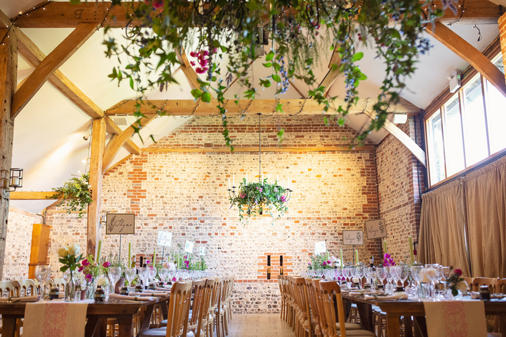 Barn Reception Greenery Foliage Bunting Long Tables Flowers Table Runners Rustic Tipi Wedding Cotton Candy Weddings