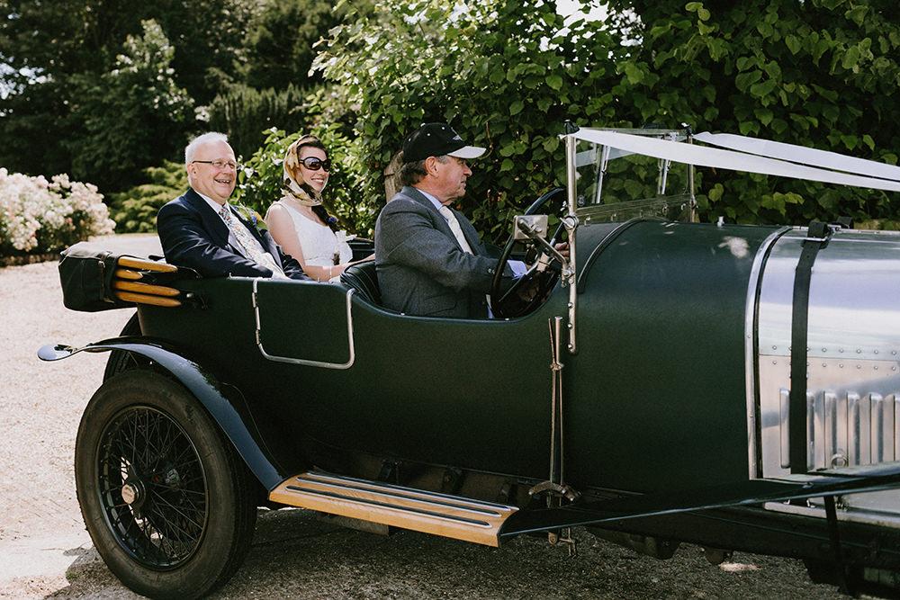Classic Vintage Car Transport Sunflowers Wedding Chris Bradshaw Photography