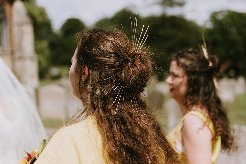 Bridesmaid Hair Bun Accessory Starburst Sunflowers Wedding Chris Bradshaw Photography